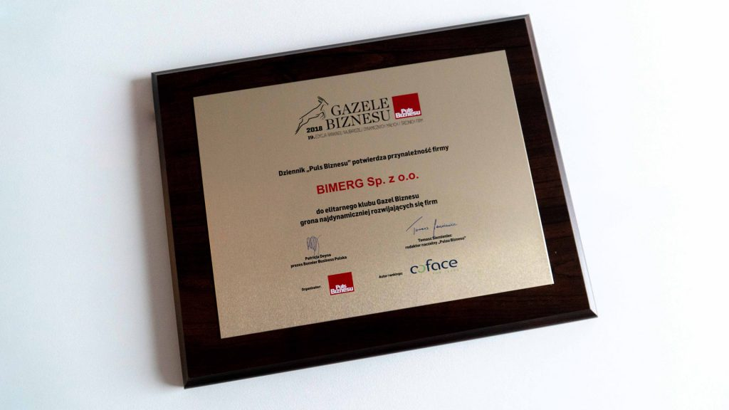 Gazele Biznesu 2017 dla Bimerg Sp. z o.o.